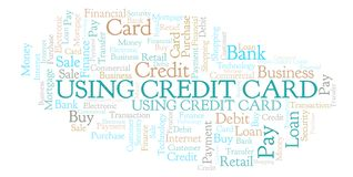 Using Credit Card word cloud. Wordcloud made with text only royalty free illustration
