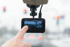 Using dashboard camera in the car royalty free stock photo