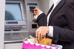 Using debit card. For taking money from ATM royalty free stock photography