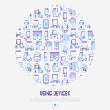 Using devices concept in circle with thin line icons. Gadget, tablet in hands, touchscreen, fingerprint, laptop, wireless headphones. Modern vector Royalty Free Stock Photos