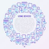 Using devices concept in circle vector illustration
