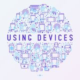 Using devices concept in circle stock illustration