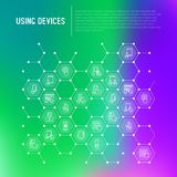 Using devices concept in honeycombs vector illustration