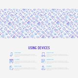 Using devices concept with thin line icons. Gadget, tablet in hands, touchscreen, fingerprint, laptop, wireless headphones. Modern vector illustration for Royalty Free Stock Photos