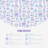 Using devices concept with thin line icons. Gadget, tablet in hands, touchscreen, fingerprint, laptop, wireless headphones. Modern vector illustration for Stock Image