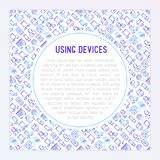 Using devices concept with thin line icons. Gadget, tablet in hands, touchscreen, fingerprint, laptop, wireless headphones. Modern vector illustration for Stock Photography