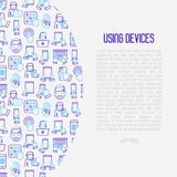 Using devices concept with thin line icons. Gadget, tablet in hands, touchscreen, fingerprint, laptop, wireless headphones. Modern vector illustration for Royalty Free Stock Images