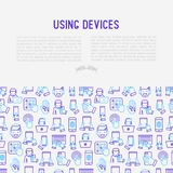 Using devices concept with thin line icons. Gadget, tablet in hands, touchscreen, fingerprint, laptop, wireless headphones. Modern vector illustration for Royalty Free Stock Photography
