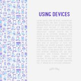 Using devices concept with thin line icons. Gadget, tablet in hands, touchscreen, fingerprint, laptop, wireless headphones. Modern vector illustration for Stock Photo