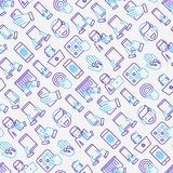 Using devices seamless pattern. With thin line icons: gadget, tablet in hands, touchscreen, fingerprint, laptop, wireless headphones. Modern vector illustration Stock Photo