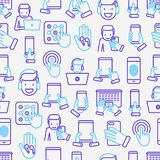 Using devices seamless pattern. With thin line icons: gadget, tablet in hands, touchscreen, fingerprint, laptop, wireless headphones. Modern vector illustration Royalty Free Stock Images