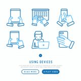 Using devices thin line icons set vector illustration