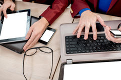 Using different digital gadgets Royalty Free Stock Photo