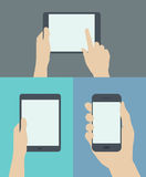Using digital and mobile devices flat illustration. Flat design style modern vector illustration set concept of hand holding digital tablet and mobile phone with Stock Photo
