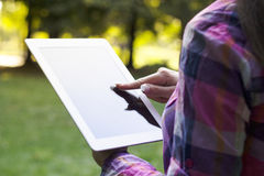 Using digital tablet Stock Image