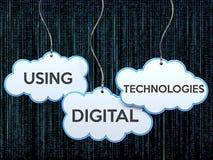 Using digital technologies on cloud banner. Using digital technologies text on hanging cloud banner , 3d rendered vector illustration