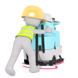 Using drivable floor scrubber wrong. Figure of 3D man worker in hard hat and signal vest pushing drivable floor scrubber machine with hands, render  on white Stock Image