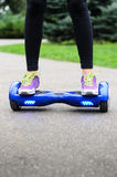 Using Hoverboard Electric Smart Scooter Self Balancing  Royalty Free Stock Image