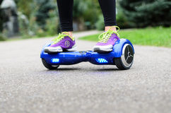 Using Hoverboard Electric Smart Scooter Self Balancing  Royalty Free Stock Photos