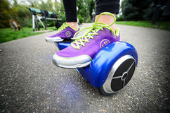 Using Hoverboard Electric Smart Scooter Self Balancing  Stock Image