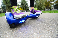 Using Hoverboard Electric Smart Scooter Self Balancing  Royalty Free Stock Images