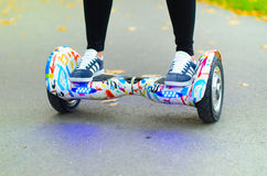 Using Hoverboard Electric Smart Scooter Self Balancing  Stock Images
