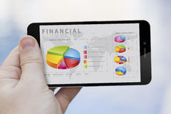 Using a financial app Royalty Free Stock Photo