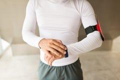 Using fitness tracker Stock Photos