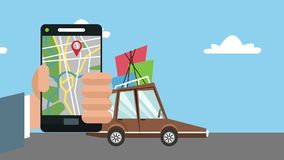 Using GPS app from smartphone HD animation. Using GPS app from smartphone to travel with car High definition coloful animation scenes stock footage