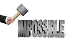 Using hammer to damage impossible 3D concrete word. In white background Stock Photos