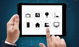 Using innovative technologies Computer System Innovation Digita. L smart house device smartphone with smart home app royalty free stock photography