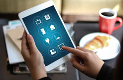 Using innovative technologies Computer System Innovation Digita. L smart house device smartphone with smart home app stock photos