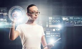 Using innovative technologies . Mixed media Royalty Free Stock Photos