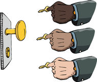 Using a Key. Multi-ethnic versions of a businessman's hand inserting a golden key into a lock Stock Image