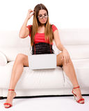 Using laptop Royalty Free Stock Photo