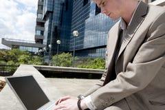Using Laptop Close up Stock Photo