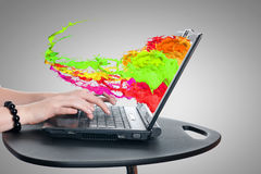Using laptop Stock Photography