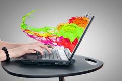 Using laptop Stock Photography