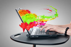 Using laptop Royalty Free Stock Photography