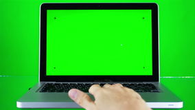 Using Laptop with Green Screen stock footage