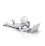 Using the Laptop lying down. 3D generated image of figure leisurely using Laptop notebook whilst lying on belly, with one leg up Royalty Free Stock Photos