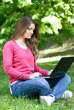 Using laptop in the park Royalty Free Stock Images