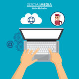 Using laptop social media cloud connection Stock Photo