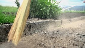 Using large broom to sweep the earth on the floor. Grower uses the broom to clean the path on his garden stock video