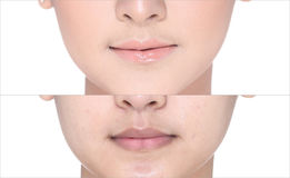 Before After, using Lipstick on moutth lip by gloss and sharpen royalty free stock photos