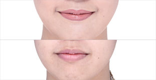 Before After, using Lipstick on moutth lip by gloss and sharpen Royalty Free Stock Image