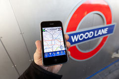 Using a London Underground App Royalty Free Stock Photos