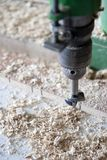 Using machines in joinery Royalty Free Stock Photo