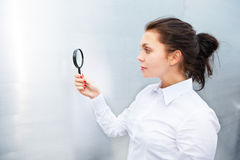 Using Magnifying Glass Stock Images