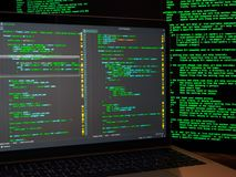 Using malicious code or virus program for cyber anonymus attack on server. Identity theft and computer crime. Using malicious code or virus program for cyber royalty free stock images